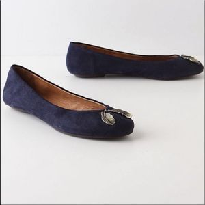 Pilcro & The Letterpress Navy Blue Suede Flats